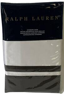 RALPH LAUREN Standard Pillow Sham NWT Bowery Style Met Gray MSRP $130.00