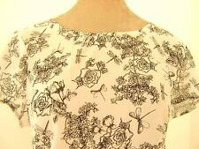 Lovely Black & white floral roses dragonfly lightweight blouse beach  top L