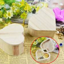 Unfinished Wood Wooden Heart Jewelry Gift Boxes Storage Mold Painting Craft DIY