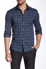 John Varvatos Collection Slim Fit Check Sport Shirt - Men XL - Windsor Blue