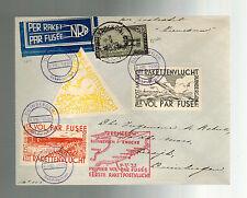 1935 Duinbergen Belgium Rocket Mail Cover w/ Cinderella Imperfs Roberti
