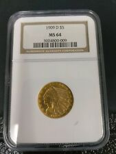 1909-D $5 Gold Coin NGC MS-64
