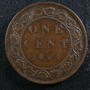1 cent 1894 Canada one large penny bronze Queen Victoria c ¢ F-15