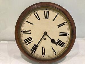 Antique Oak Wall Clock For Parts Or Restoration