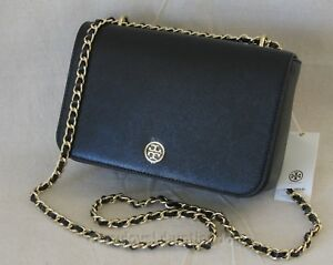 NWT Tory Burch Robinson Patent Adjustable Chain Crossbody Shoulder Bag Black