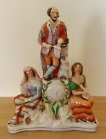 Staffordshire vintage Victorian antique Shakespeare clock flatback figurine