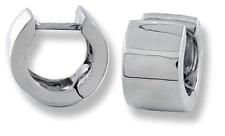 Huggies Wide Flat Round Hinged Small Hoop Earrings 10k White Gold