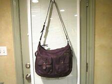 StorkSak Purple Leather Large Cross-Body HOBO Diaper Travel Bag