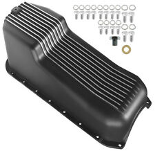 NEW 86-02 SMALL BLOCK CHEVY FINNED OIL PAN,BLACK,RIGHT SIDE DIPSTICK,262-350