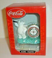 Coca-Cola Soda Bear & Bottle Cap Mini Clock #CCM72 (New In Box) Coke Advertising