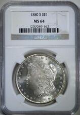 1880-S $1 Morgan Silver Dollar ~ NGC Graded MS64