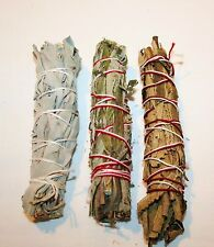 California White Sage, Black Sage & Yerba Santa 4-5 Inch Smudge Bundle 3 Pack