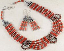 """105g HOT CORAL & .925 Silver NECKLACE EARRINGS Set ~17"""""""