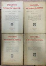 ENCICLOPEDIA DELLE MATEMATICHE ELEMENTARI. IV voll. in II tomi, Hoepli 1938