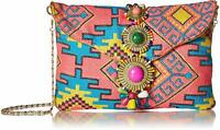 Steve Madden Zada Envelope Clutch Shoulder Bag, Pink Multi Tribal Pattern
