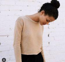 New! brandy melville tan light weight crop wool cashmere Francesca sweater NWT