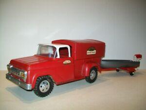 Vintage Pressed Steel 1958 Tonka Toys #34 Deluxe Sportsman Pickup Truck w/ Boat