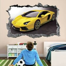 Supercar Yellow Sports Car Wall Art Stickers Mural Decal Kids Room Decor AP21