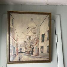 Vintage Framed Print Sacre Coeur, Montmartre, Paris. After Utrillo Street Scene
