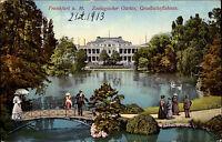 Frankfurt am Main Hessen 1913 Zoologischer Garten Gesellschaftshaus Brücke Teich