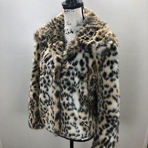GALLERY Collar Leopard Print Brown Faux Fur Jacket Women's Size Large