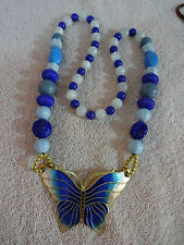 MULTI-COLOR BEADED NECKLACE WITH CLOISONNE BUTTERFLY PENDANT