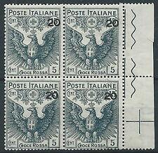 1915-16 REGNO PRO CROCE ROSSA 20 SU 15+5 CENT QUARTINA MNH ** - T135