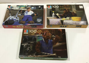 ALF LOT OF 3 DIFFERENT VINTAGE SEALED IN BOX MILTON BRADLEY 100 PIECE PUZZLES