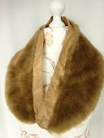 Col de manteau fausse fourrure de renard doublure en soie 80x15cm   31x6 inch