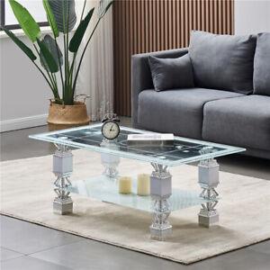 Glass coffee table with storage modern living room furniture tea coffee table UK