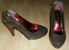 Ladies LOVE LABEL Dark Mushroom Patent Heeled Court Shoes - Size UK 5
