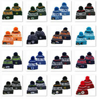 Embroidered All Team Logo Pom Pom Skull Beanie Cap Winter Warm Football Hat