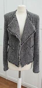 L.K. Bennett Darya Tweed Jacket, Black Cream Size 14