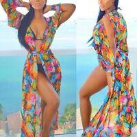 Womens Beach Pool Party Wear Wrap Long Maxi Dress Skirt Kimono Chiffon UK Size
