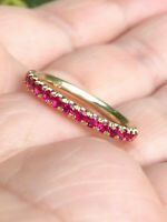 0.60Ct Round Cut Ruby Half Eternity Engagement Ring Band 14K Yellow Gold Finish