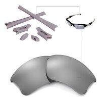 New Walleva Polarized Titanium Lenses And Rubber Kit For Oakley Flak Jacket XLJ