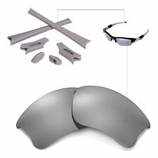 New Walleva Polarized Titanium Lenses And Rubber Kit For Oakley Flak Jacket XLJ