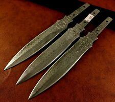 Lot of 3 Handmade Damascus Steel Blank Blades-Double Edge-Knife Making B111