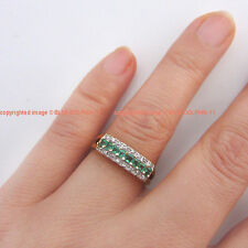 Genuine Natural Diamonds Emeralds Solid 9ct Yellow Gold Engagement Wedding Rings