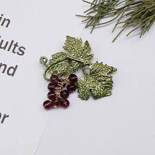 New Fashion Purple Crystal Beads Grape Green Leaf Brooch