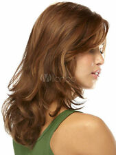 100% Real Hair! Women's Charming Light Brown Slightly Curled In a Long Wig