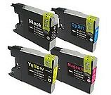 Set of 4 Compatible Brother LC-1280XL High Yield Black Cyan Magenta & Yellow ...