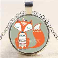 Cute Fox And Bird Cabochon Glass Tibet Silver Chain Pendant Necklace