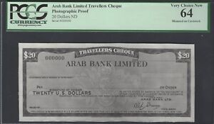 United Arab Emirates Arab Bank Limited Cheque 20 Dollars Photographic Proof UNC