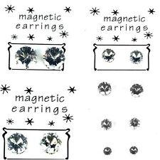 Magnetic Round Cubic Zirconia Stud Costume Earrings