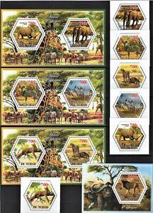 TCHAD 2014 FAUNE D'AFRIQUE RHINO GIRAF LEO PANTHERA OX ZEBRA PRARIE STAMPS MNH
