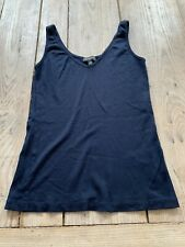 Immaculate THE WHITE COMPANY Navy Blue Cotton & Modal Jersey VEST TOP, UK 14