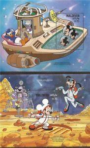 Maldives 1988 Disney Mickey & Friends Explore Space 2 Sheet Set 13E-463