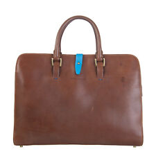 PIQUADRO Leather Briefcase Business Bag Large Zipped Made in Italy RRP €490