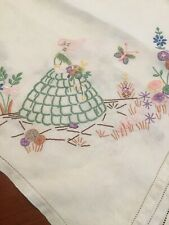 VINTAGE EMBROIDERED IRISH LINEN TABLECLOTH, CRINOLINE LADY